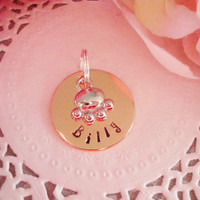 "Shiny Copper 1"" Customized Personalized Pet Tag With Paw Charm"