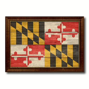 Maryland State Flag Texture Canvas Print with Brown Picture Frame Gifts Home Decor Wall Art Collectible Decoration