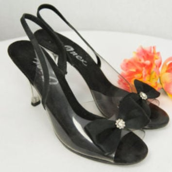Vintage Clear Lucite Heels Size 7 1/2 - 8 Cinderella Glass Slippers Bows Onex Sling Back Shoes