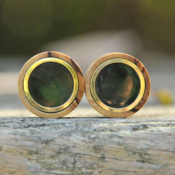 1'' Olive wood Plugs with Brass and Nephrite Jade inlay