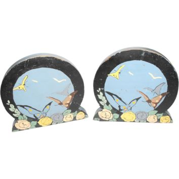 Art Deco Wooden Bookends Painted Butterfly