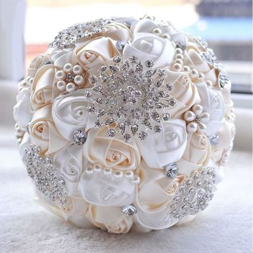 Gorgeous beaded crystal artificial wedding satin rose bridesmaid flower pearl bridal bouquets