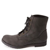 Lace-Up Ankle Combat Boots by Charlotte Russe - Black