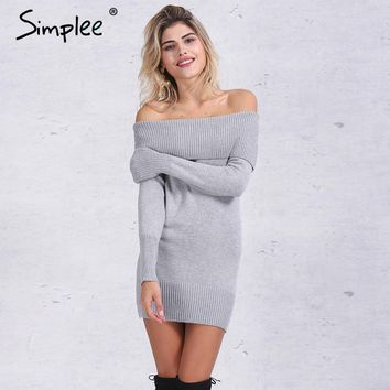 Simplee Winter off shoulder knitted bodycon dress Women long sleeve sexy dress party short white dresses vestidos