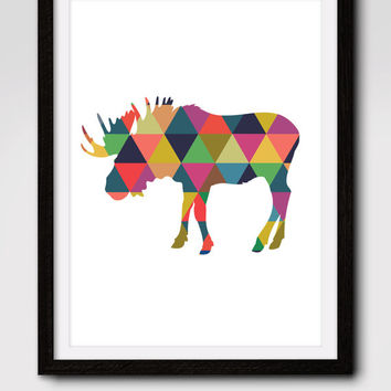 60% OFF SALE Moose Art, Printable Art, Moose Print, Wall Art, Moose Decor, Geometric Print, Instant Download, Geometric Animal Print