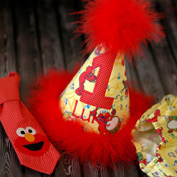 Boys Birthday Party Hat, Diaper Cover and Tie - Perfect for First Birthday, Smash Cake Pics, Photo Prop - Elmo Red Monster