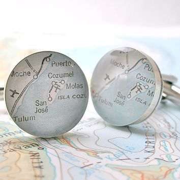 Cozumel Mexico Map Cufflinks