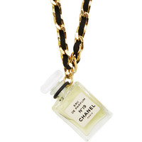 Chanel Black & Gold N19 Perfume Necklace by What Goes Around Comes Around - Moda Operandi