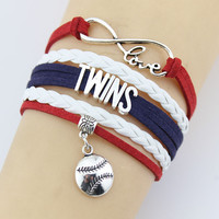 Fashion Jewelry  Handmade Alloy Barcelet Round Metal Plate decorations basketball Charms Fonts Braided Wristband Bracelets