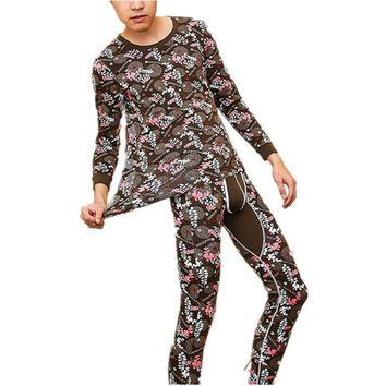 Printed Fashion O-neck 95%Cotton compression underwear long johns men autumn the second thermal skin man pants legging male