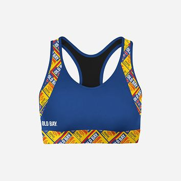 Old Bay Can Pattern Outline / Sports Bra