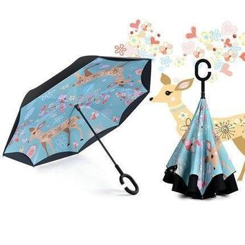 Creative C Handle Design Double Layer Umbrella Reverse Black Coating Sun Umbrella Rain Women Anti UV Windproof Reverse Umbrella