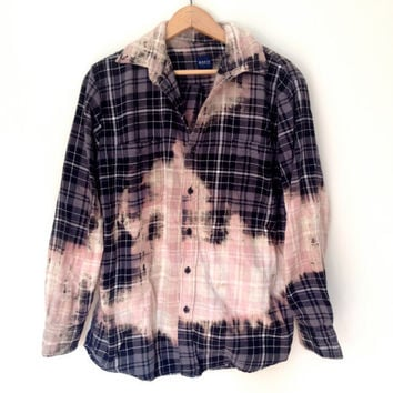 Bleached Flannel Shirt - Grey plaid