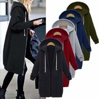 Fashion Women Winter Hooded Trench Coat Warm Parka Overcoat Long Jacket Outwear
