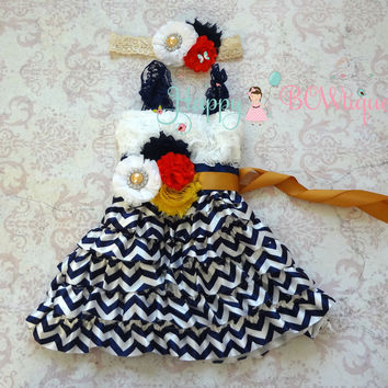 Nautical Navy Chevron Girl's Lace Dress/ Girl's Chevron Dress Set
