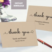 Thank You Card, Printable Wedding Thank You, Thank You Card Template, Folded Tented Thank You Instant Download Script Rustic Thank You Cards