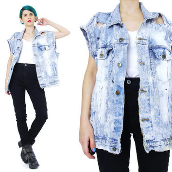 Vintage Bleached Denim Vest Ripped Distressed Frayed Holes Unisex Mens Womens Jean Vest Punk Rocker Sleeveless Denim Top Oversized (L/XL)