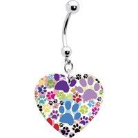 Heart Colorful Animal Paw Prints Belly Ring