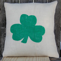 St Patrick's Day Shamrock Pillow,Burlap Pillow,St Patrick's Day Decor,St Patricks Day Pillow,Rustic Holiday Decor,Shamrock Rustic Decoration | Toad Hollow