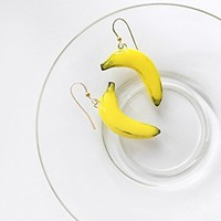 Banana fruit dangle earrings with sterling silver hooks by AbraKadabraJewelry