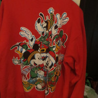 MICKEY MOUSE and friends  Jerry Leigh ugly Christmas sweatshirt  Hip Hop Unisex  large Vintage 80's