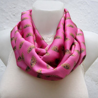 infinity scarf Loop scarf Neckwarmer Necklace scarf Fabric scarf  Pink  Brown