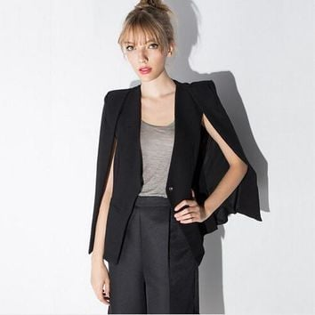 Women cloak cape blazer Black color 2017 Spring and Autumn lapel split long sleeve blazer feminino one button female suit jacket