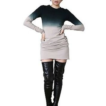 RTBU Cotton Punk Tie Dye Gradient Long Sleeve Top Slim PJS One Piece Dress Gray