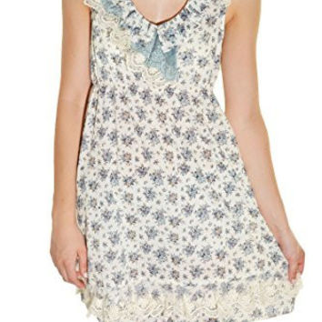 Calico Lace Country Floral Dress (Marine Blue Ivory)