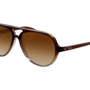 Ray Ban Cats RB4125 Sunglasses Brown Frame Brown Gradient Lens