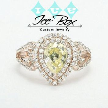 Moissanite Engagement Ring - 6 x 9mm, 1.5ct Light Yellow Pear Cut Moissanite in a 14K Rose Gold Diamond Double Halo setting