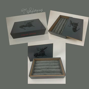 Custom Chillin' Moose Cigar Box, Jewelry Box, Ring, Stud Earring & Cuff Link Holder, Ring, Cufflink and Jewelry Display by Michelaneous