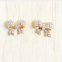 Gold Crystal Bow Earrings