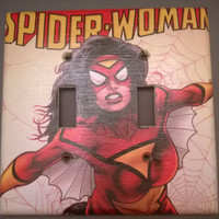 Comic Book Spider Woman Superhero double toggle light switch cover