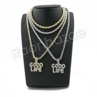 "ICED OUT GOOD LIFE BUBBLE PENDANT W/ 24"" ROPE /18"" TENNIS CHAIN NECKLACE SC002"