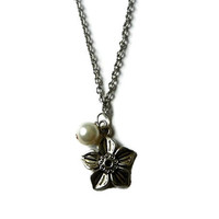 Silver Flower Charm Necklace with Pearl