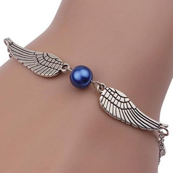 Fashion Women Infinity Retro Pearl Angel Wings Jewelry Dove Peace Bracelet BK
