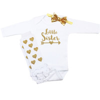 Baby Girl Little Sister Leg Warmer Hearts Outfit | Gold Hearts Leg Warmers, Gold Sequin Bow on Headband