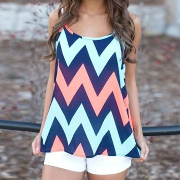 Chevron Waves Tank Top Vest