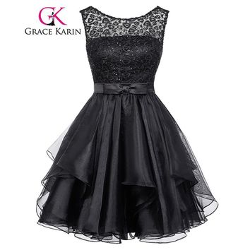 Lace Short Prom Dress Grace Karin Sleeveless Mid Thigh mini party gowns O Neck V Back black special occasion dresses 2017 Summer