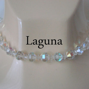 50s Vintage Laguna AB Crystal Choker Bead Necklace (Wedding, Bridal)