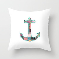 Funny Anchor Patchwork pattern retro & Stitches Throw Pillow by Girly Trend | Society6