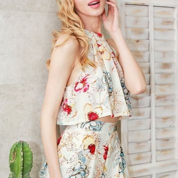 Floral Print Two-Piece Romper Set