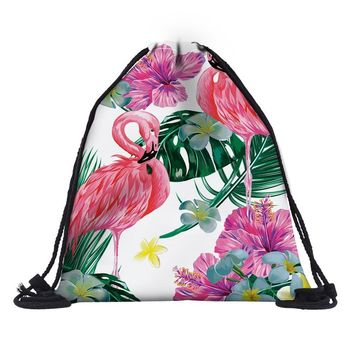 Tropical Flamingo Plants Drawstring Bags Cinch String Backpack Funny Funky Cute Novelty