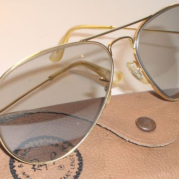 CIRCA 1960's VINTAGE B&L RAY BAN PHOTOCHROMATIC UV ARISTA GP AVIATOR SUNGLASSES