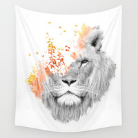 If I roar (The King Lion) Wall Tapestry by Budi Satria Kwan