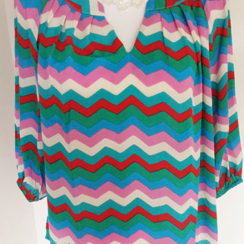 Striped Chevron Chiffon Blouse