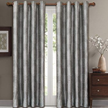 Silver 104x63 Lexington Pair (Set of 2) Jacquard Grommet Window Curtain Panels