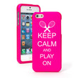For iPhone 4 4S 5 5S 5c Hot Pink Rubber Hard Case Keep Calm and Play On Tennis