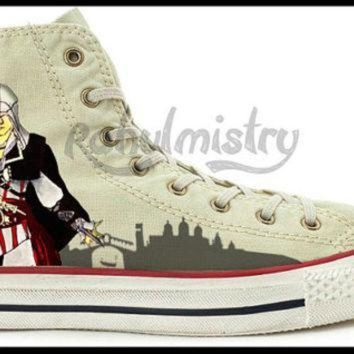 DCCKGQ8 assassin s creed ezio hand painted converse all star shoes